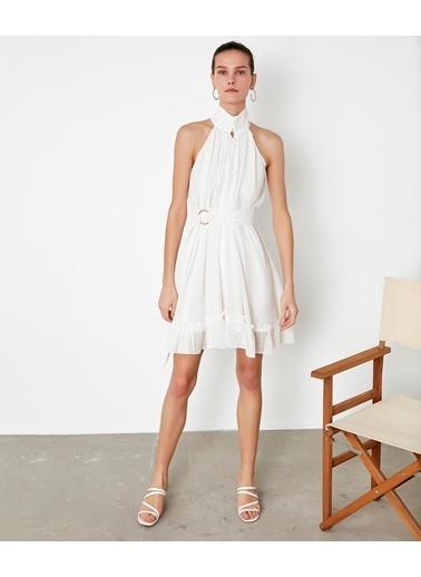 Ipekyol Düğme Şeritli Kuşaklı Elbise Ekru